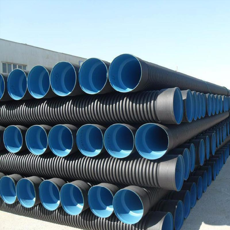 HDPE双壁波纹管 塑料管 黑色HDPE钢带管 成才管业老板实在