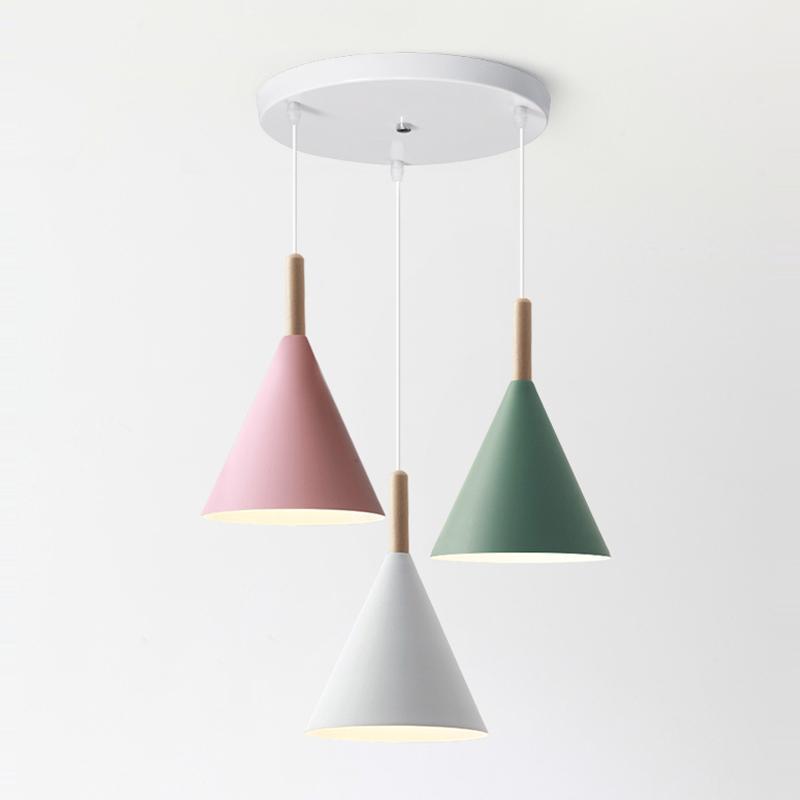 北欧餐厅吊灯三头led现代简约床头灯饭厅吧台创意餐桌马卡龙灯具