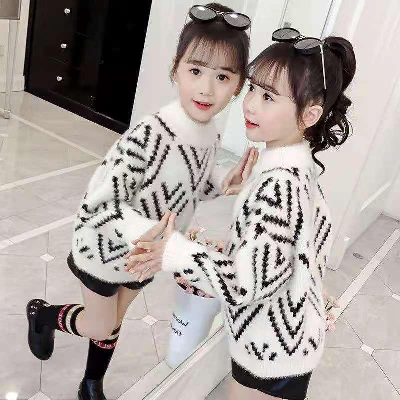 童装批发2021新款儿童秋装木耳边毛衣女童长袖针织上衣宝宝洋气打底衫